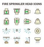 Fire sprinkler icon. Vector icon design of fire sprinkler system include fire sprinkler head, spray water and smoke detector isolated on white background Stock Photo