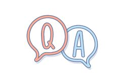 Hand draw Question and Answer on a chat bubble. Q&A icon design. Vector icon design for question and answer related subjects. Website faqs, articles, etc royalty free illustration