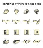 Roof Deck Drainage. Vector icon design of roof deck drainage system Stock Image