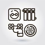 Vector icon engineering communication. Black flat line vector icon with a picture of a symbol engineering communication  on white background Royalty Free Stock Photography