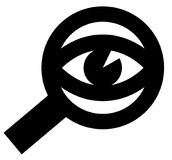 Spying eye icon. Vector icon of eye looking through magnifying glass Royalty Free Stock Photography