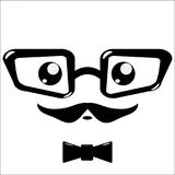 Vector icon, eyeglasses and mustaches Stock Photos