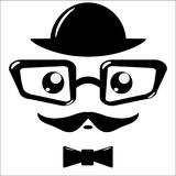 Vector icon, eyeglasses and mustaches. On white background Stock Image