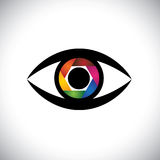 Vector icon eyes as camera with shutter. Concept vector icon eyes as camera with colorful shutter. This graphic also represents artistic ability of the Stock Image