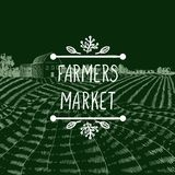 Vector Icon: Farmers Market, Farm Field Chalk Drawing and Lettering in Doodle Frame. royalty free illustration