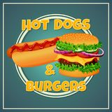 Fast food icon, label, sticker, sign, poster. Grilled hot dog with ketchup and meat burger on a blue background. stock illustration