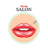 Vector icon female lips.Permanent makeup lips.Illustration stock image