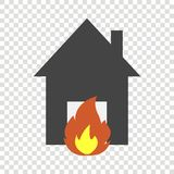 Vector icon fire in the house. Illustration of fire hazard. \r\nVector icon fire in the house. Illustration of fire hazard.  Layers grouped for easy editing Royalty Free Stock Photos
