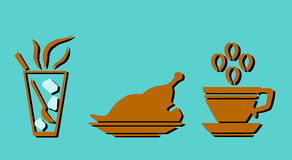 Vector icon flat glass with spoon, chicken on plate and coffee with smoke isolated. Illustration Stock Photo