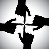 Vector icon of four hands pointing each other - concept of unity Stock Image