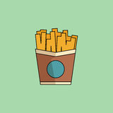 Vector Icon French Fries in minimalist style. Cute cartoon Icon French Fries.Potato in paper bucket. Office snack, business lunch takeaway. Vector minimalist Royalty Free Stock Photography
