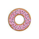 Vector icon of glazed donut. Vector icon of glazed pink cream donut with colored sprinkles Royalty Free Stock Image