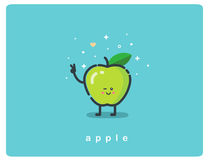 Vector icon of green apple, fruit funny cartoon character Royalty Free Stock Image