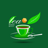 Vector icon of green tea cup and sugar Royalty Free Stock Image