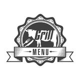 Vector icon grill menu. Vector icon sticker for grill menu with a silhouette of a cow stock illustration