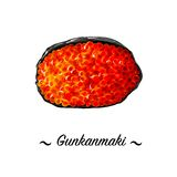Vector icon Gunkan-maki nigirizushi sushi roll. Royalty Free Stock Photography