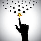 Vector icon of hand reaching for stars - concept of ambition. This also represents concepts like aspiration, determination, will power, greed, hope, dreams Stock Photos