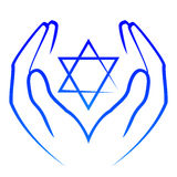 Hands holdin star of David stock illustration
