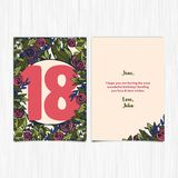 Happy birthday 18th years greeting card Royalty Free Stock Image