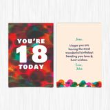 Happy birthday 18th years greeting card Stock Photos