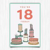 Happy birthday 18th years greeting card. Vector icon of happy birthday 18th years greeting card royalty free illustration