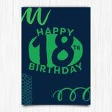 Happy birthday 18th years greeting card. Vector icon of happy birthday 18th years greeting card vector illustration