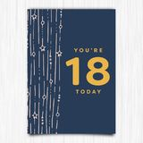 Happy birthday 18th years greeting card Royalty Free Stock Images
