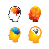 Vector icon of head with creative ingenious brains. This graphic can also represent creativity, thinking, thought, imagination, idea, solution, problem solving Stock Images
