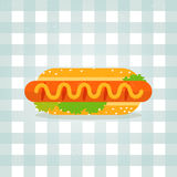 Vector Icon hot dog illustration in flat style Stock Photography