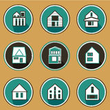 Vector icon of house building in the flat style Royalty Free Stock Photo