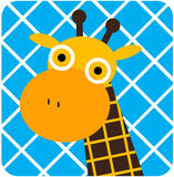 Vector icon illustration of cute animal, giraffe Stock Images