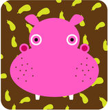 Vector icon illustration of cute animal, hippopotamus Stock Image