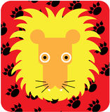 Vector icon illustration of cute animal, lion Royalty Free Stock Images