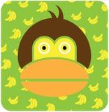 Vector icon illustration of cute animal, monkey Stock Photo