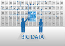 Vector icon illustration in flat design with blue and grey for big data concept. Two persons standing in front of business intelligence information dashboard Stock Photo