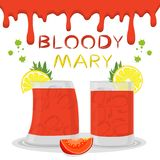 Vector icon illustration logo for alcohol cocktails bloody mary. From sliced tomatoes. Bloody Mary consisting of full glass cup with vegetable cocktail of Royalty Free Illustration