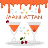 Vector icon illustration logo for alcohol cocktails manhattan fr. Om red berry cherry. Manhattan consisting of full glass cup with transparent cocktail of Vector Illustration