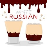 Vector icon illustration logo for alcohol cocktails white russia. N from coffee. White Russian pattern consisting of full glass cup with transparent cream Royalty Free Illustration