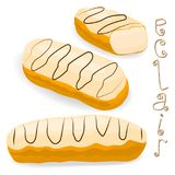 Vector icon illustration logo for cake French eclair. Vector icon illustration logo for cake French eclair with custard cream. Eclair pattern consisting of Royalty Free Stock Photography