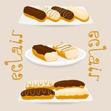 Vector icon illustration logo for cake French eclair. Vector icon illustration logo for cake French eclair with custard cream. Eclair pattern consisting of Royalty Free Stock Image