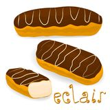 Vector icon illustration logo for cake French eclair. Vector icon illustration logo for cake French eclair with custard cream. Eclair pattern consisting of Royalty Free Stock Photo