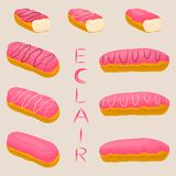 Vector icon illustration logo for cake French eclair. Vector icon illustration logo for cake French eclair with custard cream. Eclair pattern consisting of Royalty Free Stock Photos
