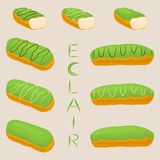 Vector icon illustration logo for cake French eclair. Vector icon illustration logo for cake French eclair with custard cream. Eclair pattern consisting of Stock Image