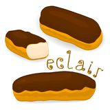 Vector icon illustration logo for cake French eclair. Vector icon illustration logo for cake French eclair with custard cream. Eclair pattern consisting of Royalty Free Stock Images