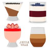 Vector illustration for sweet panna cotta. Vector icon illustration logo for jelly red strawberry, blueberry, coffee panna cotta. Jelly pattern consisting of Stock Image