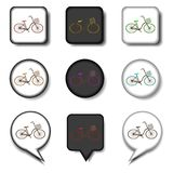 Vector icon illustration for set symbols retro bicycle with bask. Et. Bicycle pattern consisting of flat design with elements mobile web apps. Collection modern vector illustration