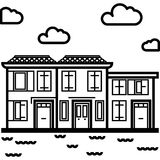 Vector Icon of an italian houses near water in line art style. Pixel perfect. Travel and tourism Stock Photography