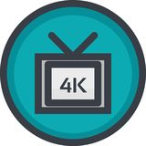 Vector Icon of 4k video quality on button in flat style with outline. Pixel perfect. Player and multimedia icon. Royalty Free Stock Photography