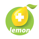 Icon vitamins. Vector icon lemon yellow on a green background Royalty Free Stock Images