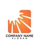 Vector Icon Logo Template Sun over horizon Royalty Free Stock Photo